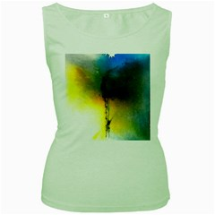 Watercolor Abstract Women s Green Tank Tops