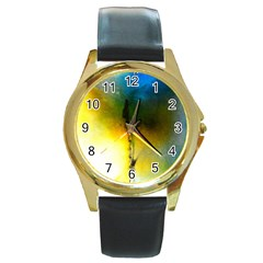 Watercolor Abstract Round Gold Metal Watches