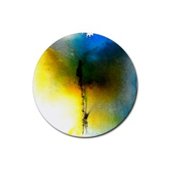 Watercolor Abstract Rubber Coaster (Round)