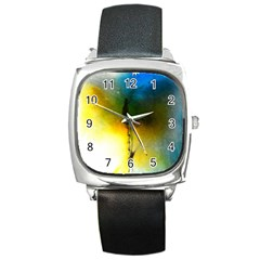 Watercolor Abstract Square Metal Watches