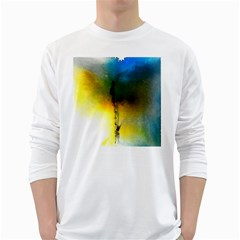 Watercolor Abstract White Long Sleeve T-Shirts