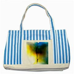 Watercolor Abstract Striped Blue Tote Bag