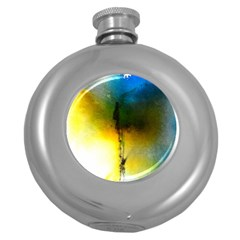 Watercolor Abstract Round Hip Flask (5 oz)