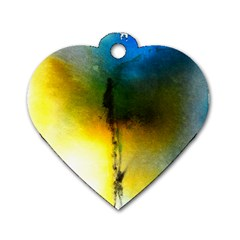 Watercolor Abstract Dog Tag Heart (One Side)