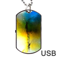 Watercolor Abstract Dog Tag USB Flash (Two Sides)