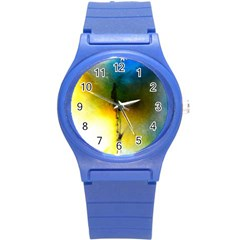 Watercolor Abstract Round Plastic Sport Watch (S)