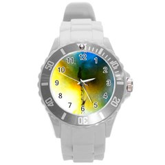 Watercolor Abstract Round Plastic Sport Watch (L)