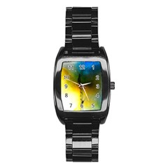 Watercolor Abstract Stainless Steel Barrel Watch