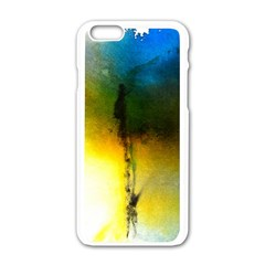 Watercolor Abstract Apple iPhone 6 White Enamel Case
