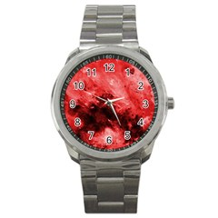 Red Abstract Sport Metal Watches by timelessartoncanvas