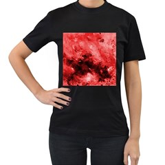 Red Abstract Women s T Shirt (black)