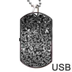 Gray Cubes Dog Tag Usb Flash (two Sides)  by timelessartoncanvas