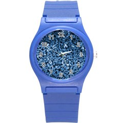Blue Cubes Round Plastic Sport Watch (s) by timelessartoncanvas