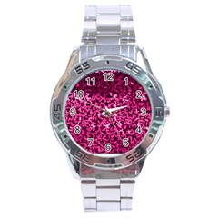 Pink Cubes Stainless Steel Men s Watch
