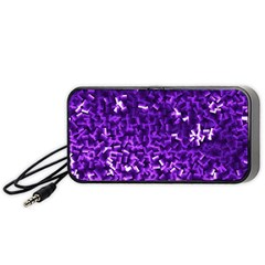 Purple Cubes Portable Speaker (black)  by timelessartoncanvas