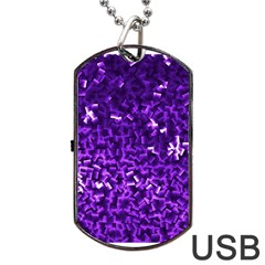 Purple Cubes Dog Tag Usb Flash (one Side) by timelessartoncanvas