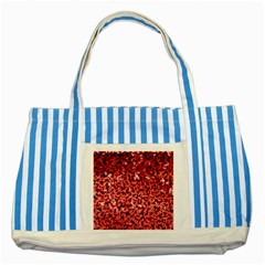 Red Cubes Striped Blue Tote Bag