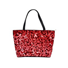 Red Cubes Shoulder Handbags by timelessartoncanvas