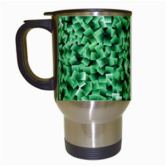 Green Cubes Travel Mugs (white) by timelessartoncanvas
