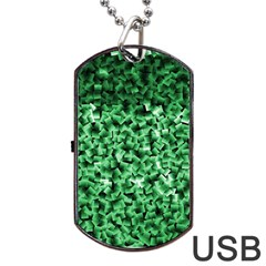 Green Cubes Dog Tag Usb Flash (one Side) by timelessartoncanvas