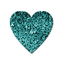 Teal Cubes Heart Magnet by timelessartoncanvas