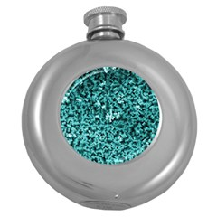 Teal Cubes Round Hip Flask (5 Oz)