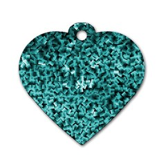 Teal Cubes Dog Tag Heart (two Sides) by timelessartoncanvas