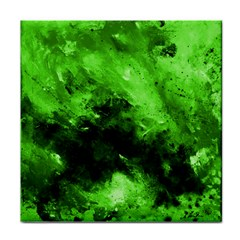 Bright Green Abstract Tile Coasters