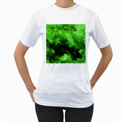 Bright Green Abstract Women s T Shirt (white) (two Sided)