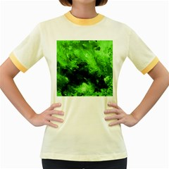 Bright Green Abstract Women s Fitted Ringer T Shirts