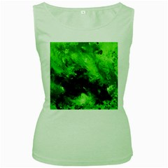 Bright Green Abstract Women s Green Tank Tops
