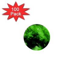 Bright Green Abstract 1  Mini Buttons (100 Pack)