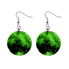 Bright Green Abstract Mini Button Earrings