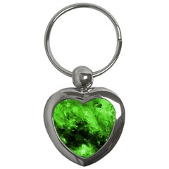 Bright Green Abstract Key Chains (heart)
