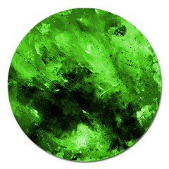 Bright Green Abstract Magnet 5  (round) by timelessartoncanvas