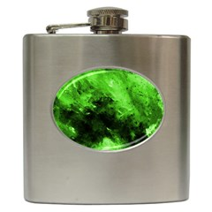 Bright Green Abstract Hip Flask (6 Oz)
