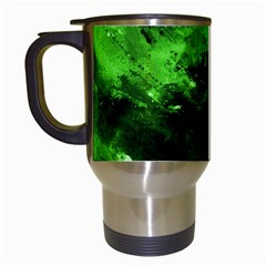 Bright Green Abstract Travel Mugs (white)
