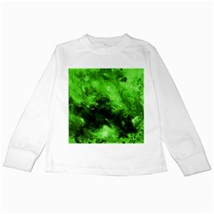 Bright Green Abstract Kids Long Sleeve T Shirts