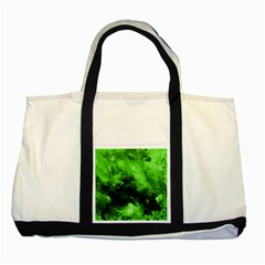 Bright Green Abstract Two Tone Tote Bag