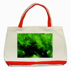 Bright Green Abstract Classic Tote Bag (red)