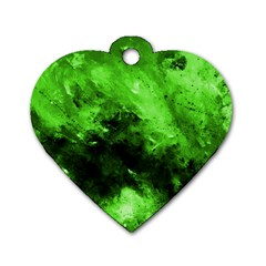 Bright Green Abstract Dog Tag Heart (two Sides)