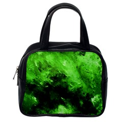 Bright Green Abstract Classic Handbags (one Side) by timelessartoncanvas