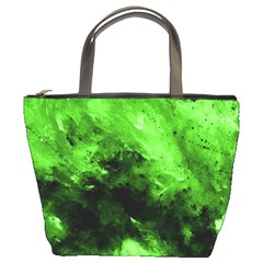 Bright Green Abstract Bucket Bags