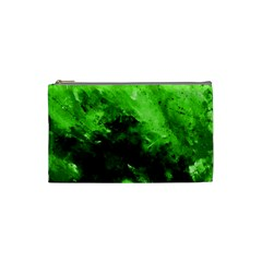 Bright Green Abstract Cosmetic Bag (small)