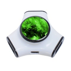 Bright Green Abstract 3 Port Usb Hub