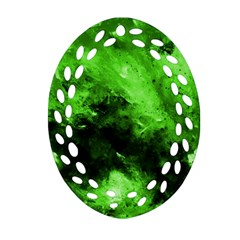 Bright Green Abstract Oval Filigree Ornament (2 Side)