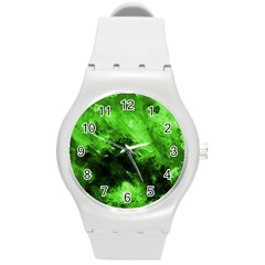 Bright Green Abstract Round Plastic Sport Watch (m)