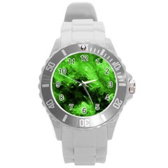 Bright Green Abstract Round Plastic Sport Watch (l)