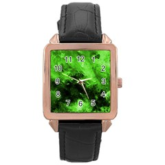 Bright Green Abstract Rose Gold Watches