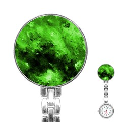 Bright Green Abstract Stainless Steel Nurses Watches